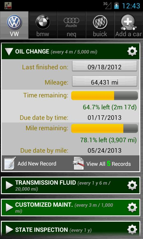 Car Maintenance Reminder Lite - screenshot
