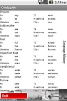 Screenshot of Spanish Verb Practice