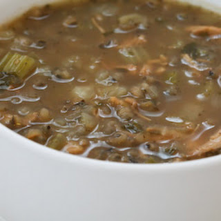 Turkey and Wild Rice Soup with Cabbage, Parsley, and Sage.