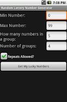 Screenshot of Lottery Number Generator