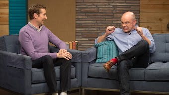 Rob Corddry Wears Tan Dress Shoes & Red Socks