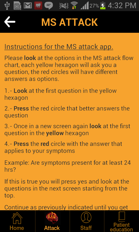 Multiple Sclerosis Attack App- screenshot