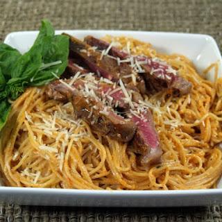 Red Pepper Pesto Sirloin and Pasta.