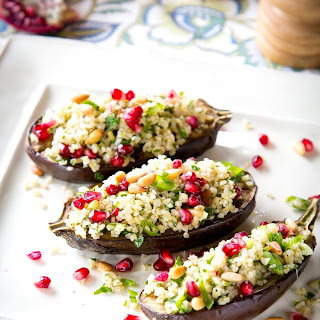Stuffed Eggplants with Herbed Bulgur.