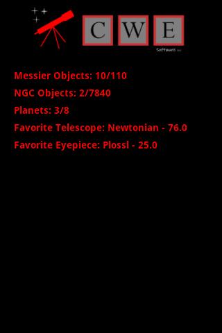 Stargazing Log- screenshot