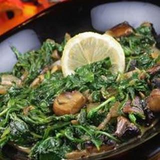 Wilted Arugula and Portobello Mushrooms