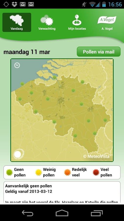 Pollenweerbericht- screenshot