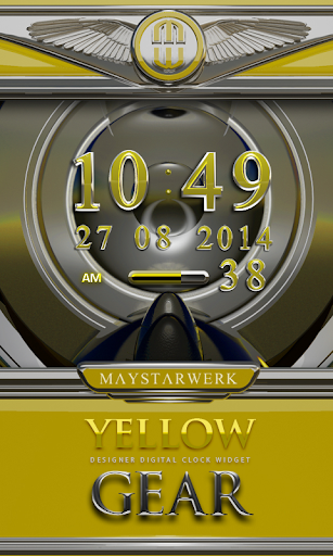 Digi Clock Widget Yellow Gear