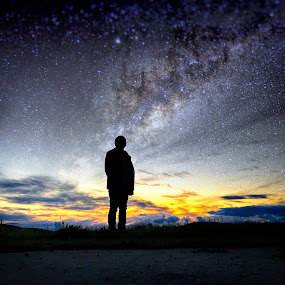 There is a God by Apollo Reyes - Instagram & Mobile iPhone ( sky, silhouette, stars, dusk, nightscape, milky way,  )