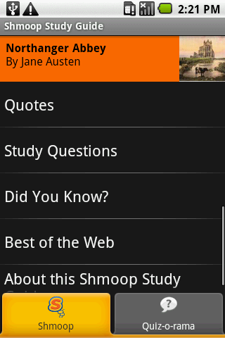 Northanger Abbey: Shmoop Guide- screenshot