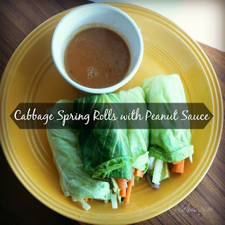 Cabbage Spring Rolls with Peanut Dipping Sauce