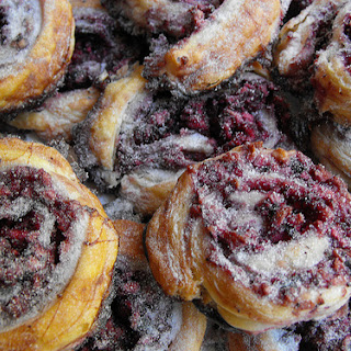 Sweet Apple Puffs with Blueberry Jam.