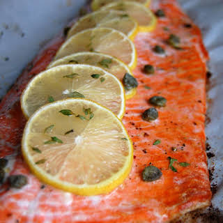 Baked Salmon with Lemon and Thyme.