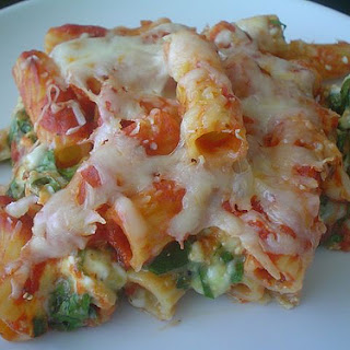 Baked Pasta with Cottage Cheese and Spinach.
