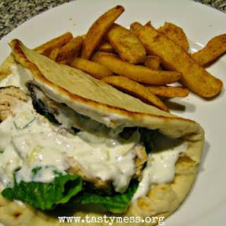 Slapdash Greek-Style Chicken Flatbreads.
