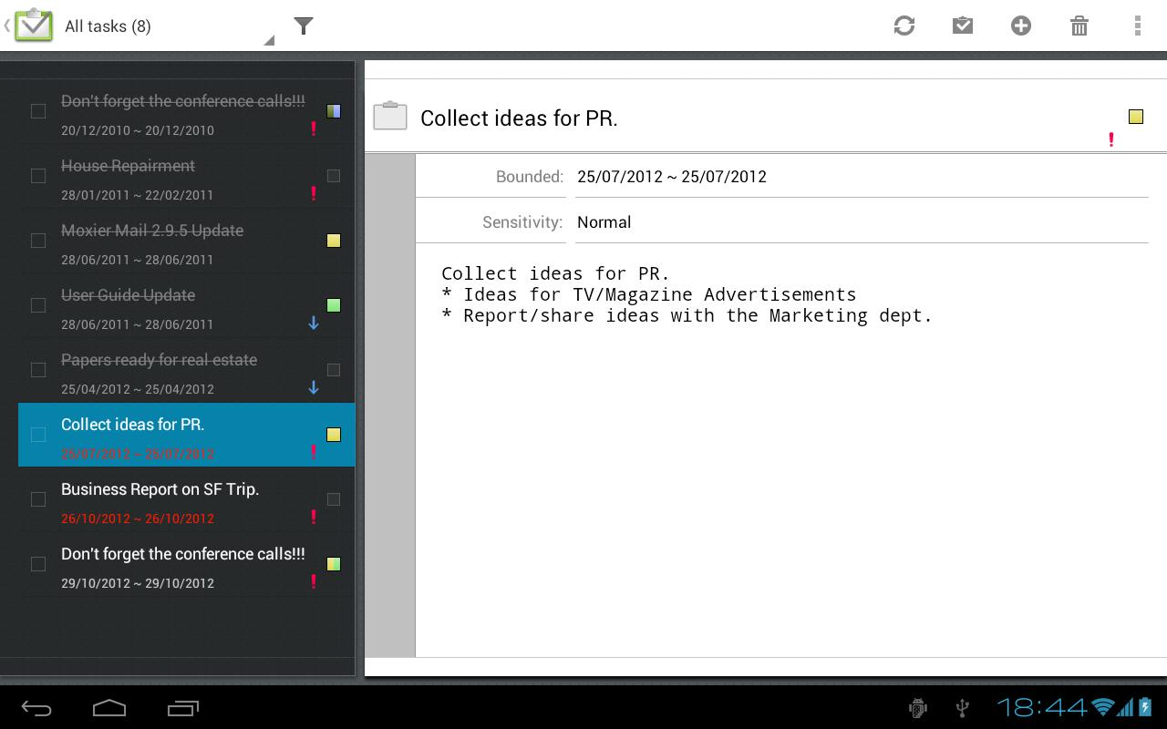 Moxier Mail for Tablet - Trial - screenshot