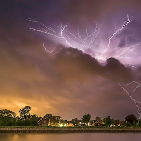 The Walking Lightning Bolts by Awais Khalid - Landscapes Weather ( clouds, lightning, sky, nature, bolts )