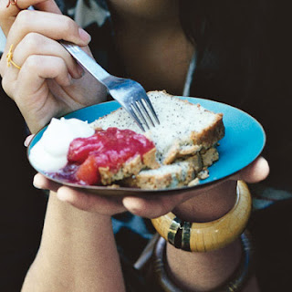 Poppy Seed Pound Cake with Plum Pluot Compote