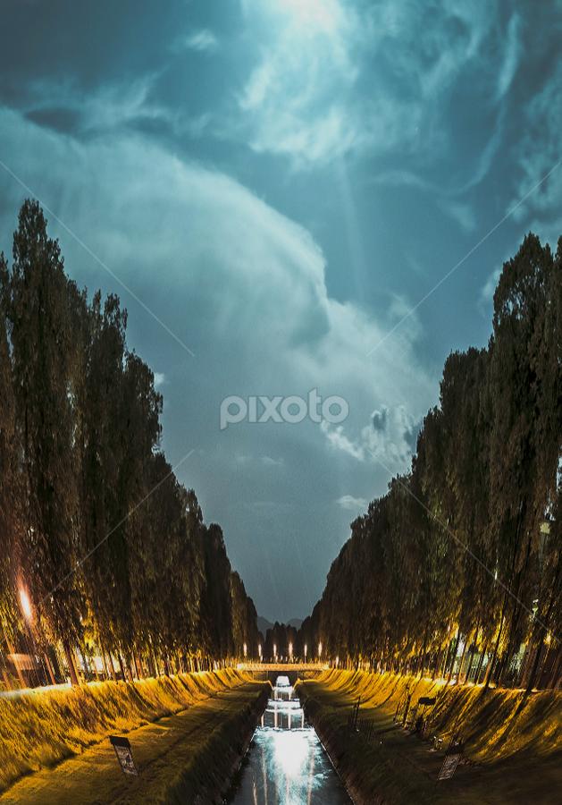 Pirot quay by Игор Ђорђевић - City,  Street & Park  Night ( sebia, quay, night, pirot, river )