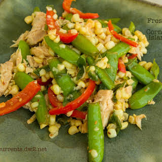 Fresh Snap Pea and Corn Sauté with Island Trollers Tuna.