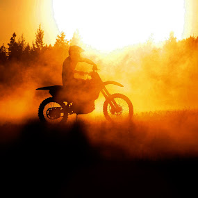 Dusty Ride at Sunset by Craig Lybbert - Sports & Fitness Motorsports ( ride, bike, silhouette, sunset, motorcycle, dusty )