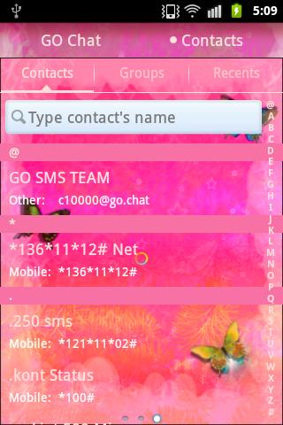 GO SMS Pro Theme Pink Nice - screenshot