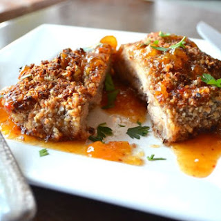 Coconut Pecan Crusted Chicken served with Sweet and Spicy Apricot Sauce.