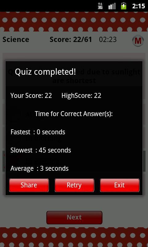 ReadnTick Science Quiz - screenshot