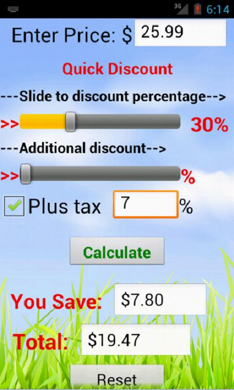 Quick Discount Calculator - screenshot