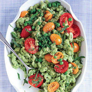 Pea Spaetzle with Mint, Chives, and Tomatoes