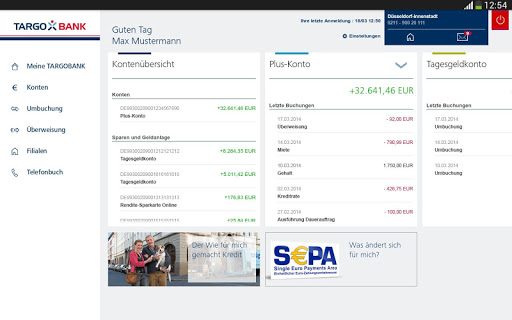 TARGOBANK Banking App Tablet