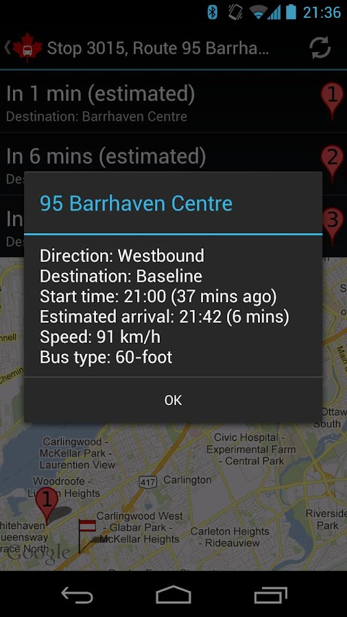 Ottawa Bus Follower- screenshot