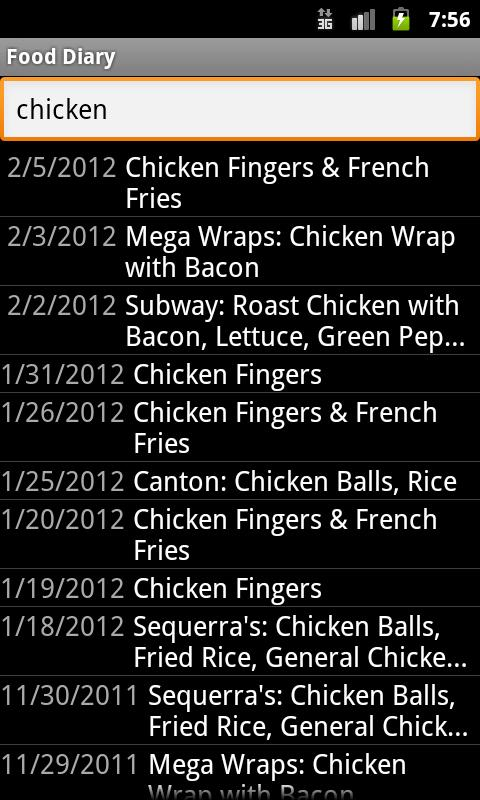 Food Diary - screenshot
