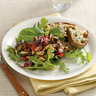 Grilled Sicilian Vegetable Salad with Spicy Gruyère Toast