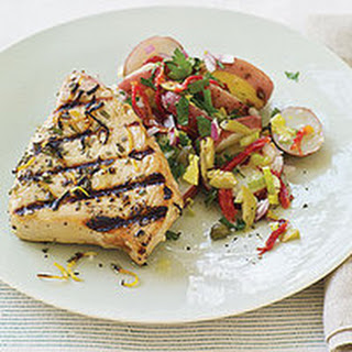 Mediterranean Grilled Tuna Steaks and Sicilian-Style Potato Salad.