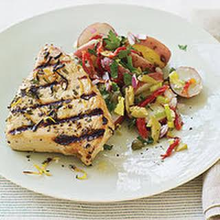 Mediterranean Grilled Tuna Steaks and Sicilian-Style Potato Salad.