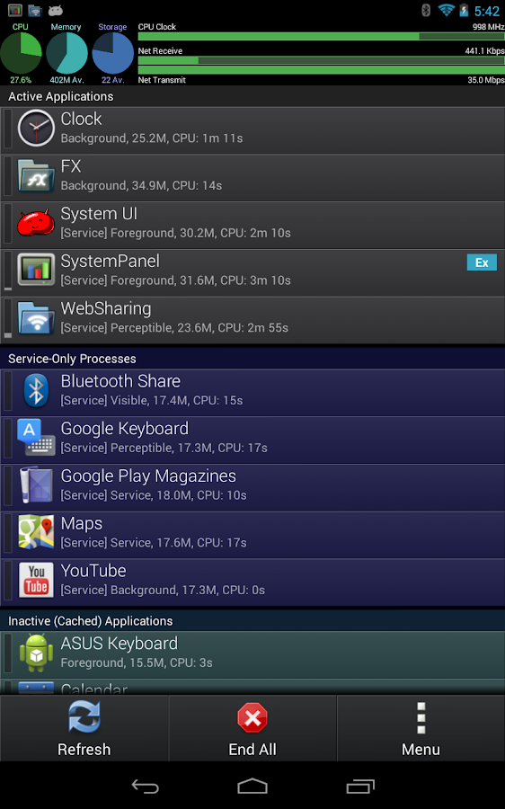 SystemPanelLite Task Manager - screenshot