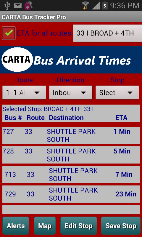 CARTA Bus Tracker Pro- screenshot