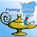 Funny genie from the lamp logo