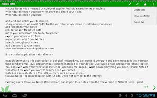 Screenshot of Natural Notes +