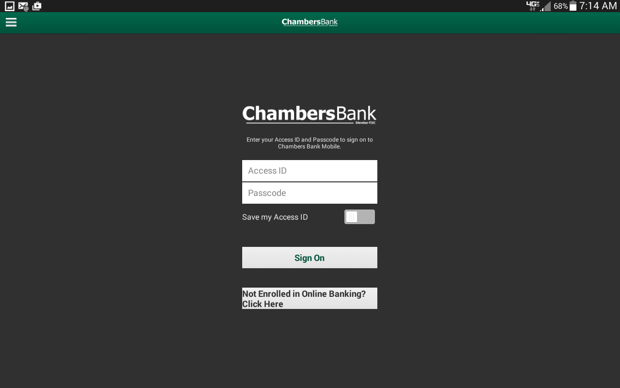 Chambers Bank Android Tablet- screenshot