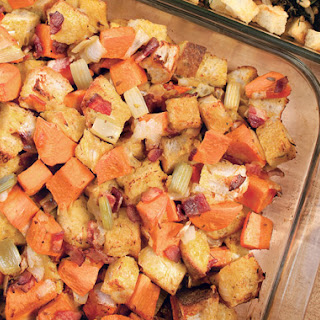 Sweet Potato Stuffing with Bacon and Thyme Recipe