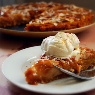 Kabocha-Satsuma Asian Pear Tart with Almond-Maple Caramel.