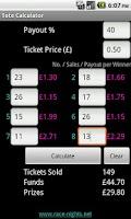 Screenshot of Race Night Tote Calculator