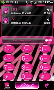 Go Contacts - Pink Zebra Theme - screenshot thumbnail