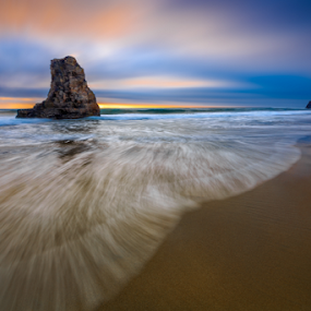The Edge by Paul Judy - Landscapes Beaches ( davenport, color, sunset, california, long exposure, rock, santa cruz, landscape, beach, relax, tranquil, relaxing, tranquility )