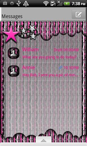 GO SMS THEME PinkStarsNStrips