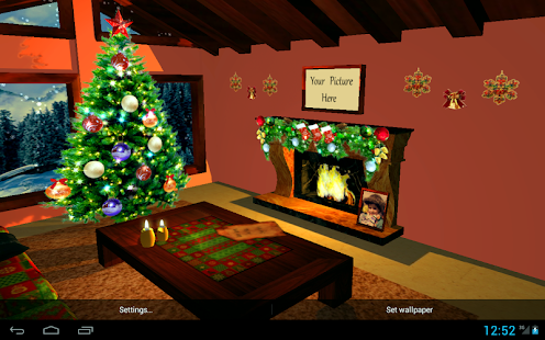 3D Christmas Fireplace HD Live Wallpaper - náhled