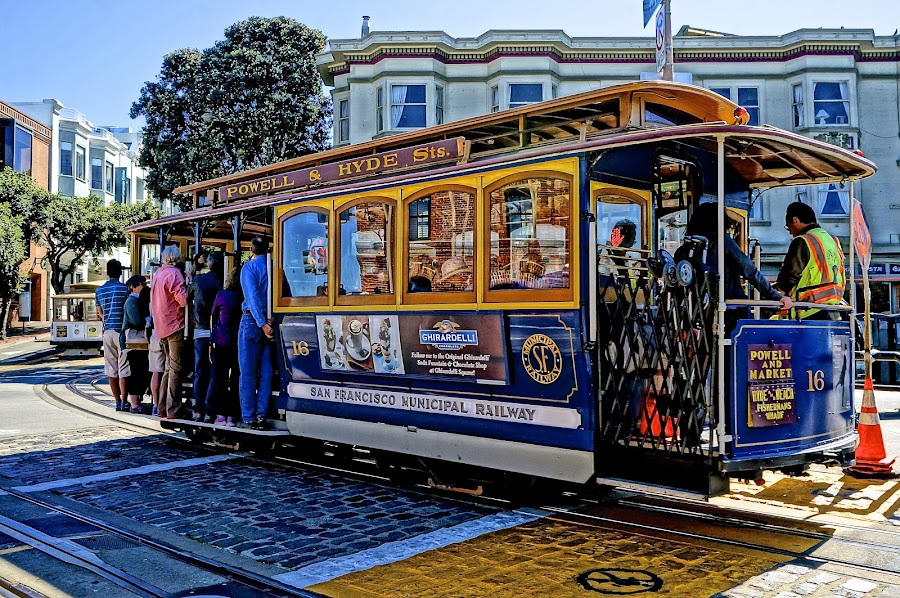 Cable Car in San Francisco by Barbara Brock - City,  Street & Park  Historic Districts ( trolley car, cable car, city transport, iconic tourism, san francisco )