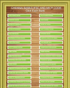 Chennai Banks IFSC Codes List - screenshot thumbnail